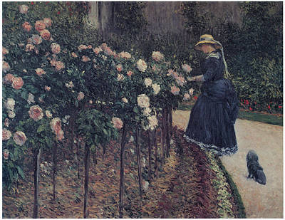 Roses Garden At Petit Gennevilliers Art Print by Gustave Caillebotte