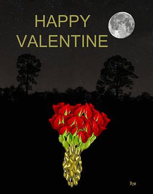 Mixed Media - Roses Happy Valentine by Eric Kempson
