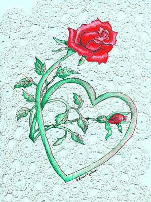 Painting - Roses Hearts And Lace Flowers Design  by Dale E Jackson