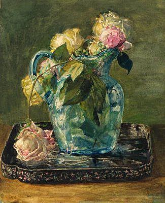 Painting - Roses In A Blue Crackle Glass Pitcher by John LaFarge