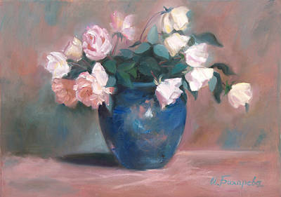 Declaration Of Love Painting - Roses In A Blue Vase by Irina Bakhareva