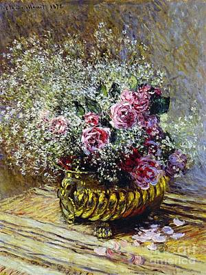 In Bloom Painting - Roses In A Copper Vase by Claude Monet