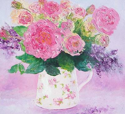 Painting - Roses In A Pink Floral Jug by Jan Matson