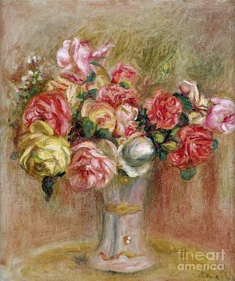 Vase Painting - Roses In A Sevres Vase by Pierre Auguste Renoir