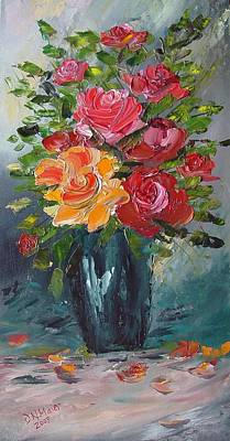 Painting - Roses In A Vase by Dorothy Maier