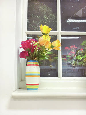 Ledge Photograph - Roses In A Vase by Tom Gowanlock