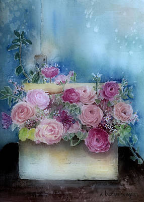 Boxes Painting - Roses In A Wooden Box by Arline Wagner