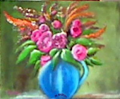 Painting - Roses In Blue Pot by M Bhatt