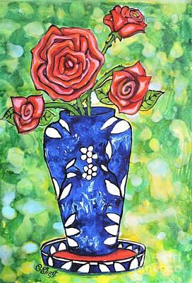 Roses In Blue Vase Art Print by Caroline Street