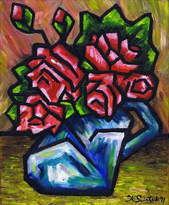 Roses In Blue Vase Art Print by Kamil Swiatek