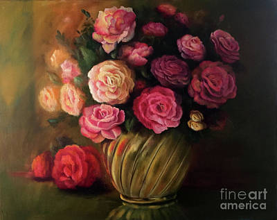 Painting - Roses In Brass Bowl by Marlene Book