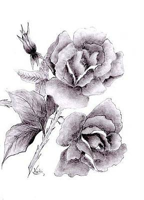 Drawing - Roses In Full Bloom by Vicki Thompson