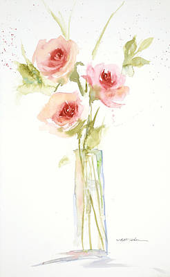 Print featuring the painting Roses In Glass Vase by Sandra Strohschein