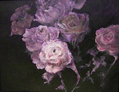Painting - Roses In Mauve by Diane Kraudelt