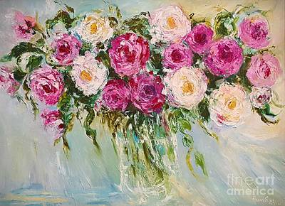 Painting - Roses In Pink And White by AmaS Art