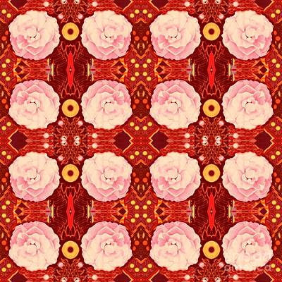 Digital Art - Roses In Pink On Red by Helena Tiainen