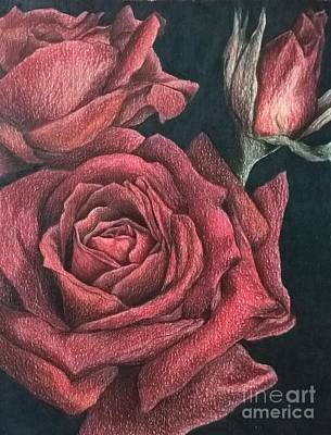 Roses In Red Art Print by Jena Suits