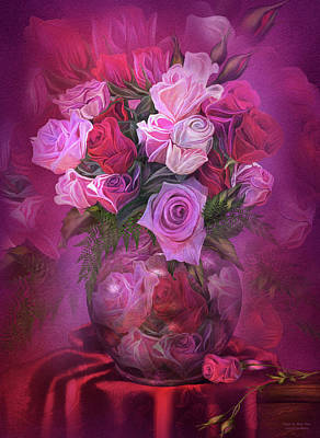 Mix Medium Mixed Media - Roses In Rose Vase by Carol Cavalaris