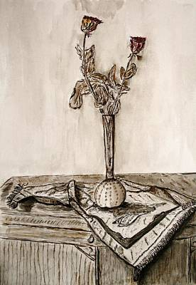 Roses In Sepia. Art Print by Shlomo Zangilevitch