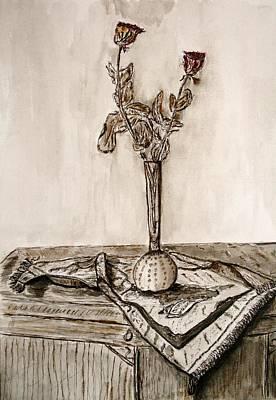 Roses In Sepia. Art Print