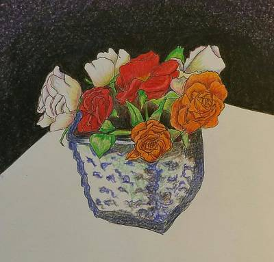 Table Cloth Drawing - Roses In Square Vase by Clara Brayton