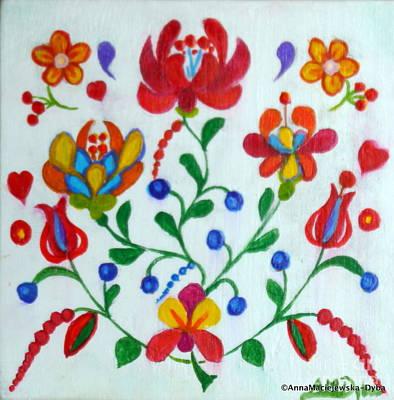 Painting - Roses In The Folk Style by Anna Folkartanna Maciejewska-Dyba