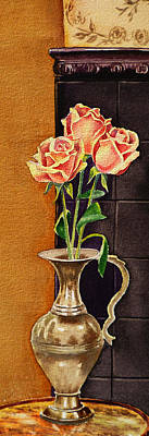 Traditional Still Life Painting - Roses In The Metal Vase by Irina Sztukowski