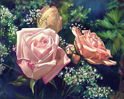 Painting - Roses In The Mist by Nancy Tilles