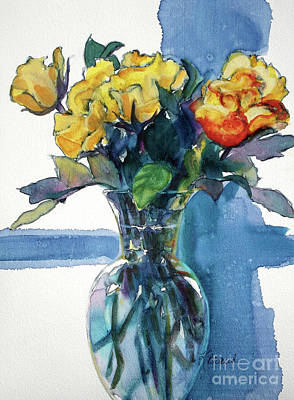Crystals Mixed Media - Roses In Vase Still Life I by Kathy Braud