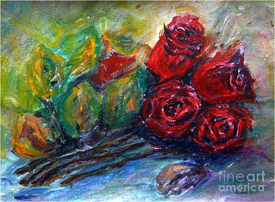 Art Print featuring the painting Roses by Jasna Dragun