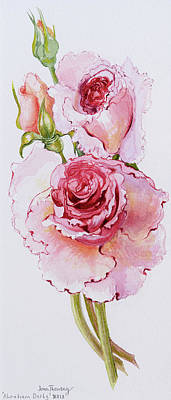 Flower In Rain Wall Art - Painting - Roses  by Joan Thewsey