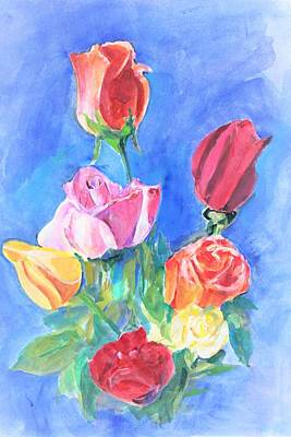 Painting - Roses by Khalid Saeed
