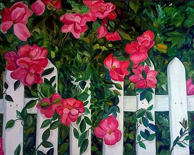 Painting - Roses On A White Picket Fence by Julie Brugh Riffey