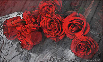 Art Print featuring the photograph Roses On Lace by Bonnie Willis