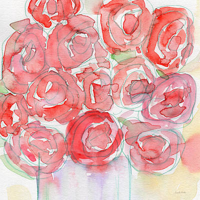 Nature Abstract Painting - Roses On My Table- Art By Linda Woods by Linda Woods