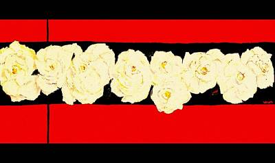 Painting - Roses-on-red-upclose by VIVA Anderson