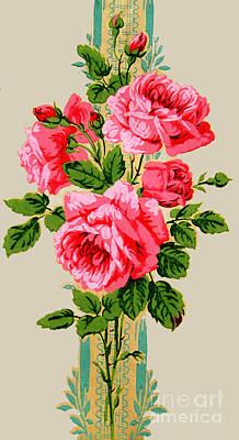 Photograph - Roses On Stripe by Brenda Kean