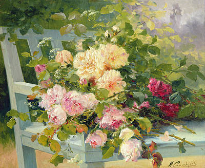 Floral Photograph - Roses On The Bench  by Eugene Henri Cauchois