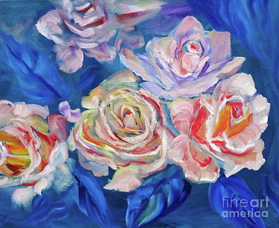 Painting - Roses, Roses On Blue by Jenny Lee