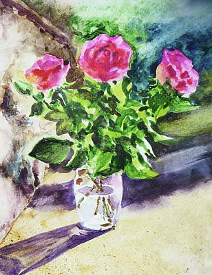 Impressionism Paintings - Roses Shadows Impressionism by Irina Sztukowski