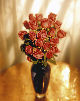 Vase Table Photograph - Roses by Tony Cordoza