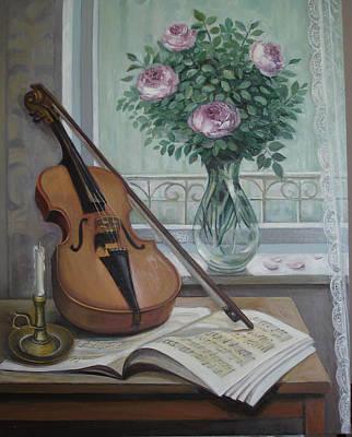 Naturmort Painting - Roses  by Venera Koch