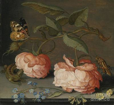 Grasshopper Painting - Roses With A Butterfly And A Grasshopper by Celestial Images