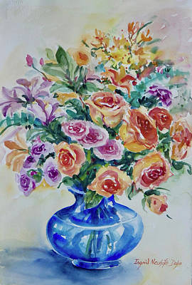 Painting - Roses With Blue Vase by Ingrid Dohm