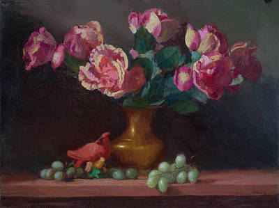 Painting - Roses with Cardinal by Walter Lynn Mosley