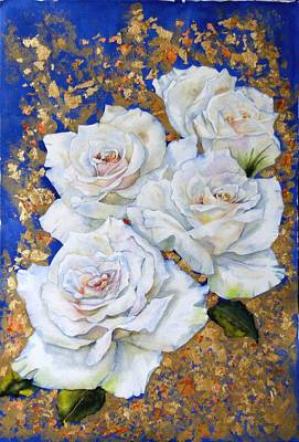 Roses With Gold Leaf Art Print