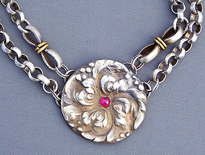 Sterling Silver Chains Jewelry - Rosette With Ruby by Mirinda Kossoff