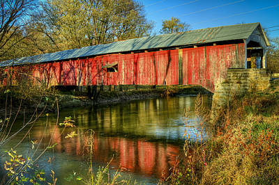 Photograph - Roseville/coxville Covered Bridge by Jack R Perry
