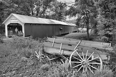 Photograph - Roseville Indiana Covered Bridge Black And White by Adam Jewell