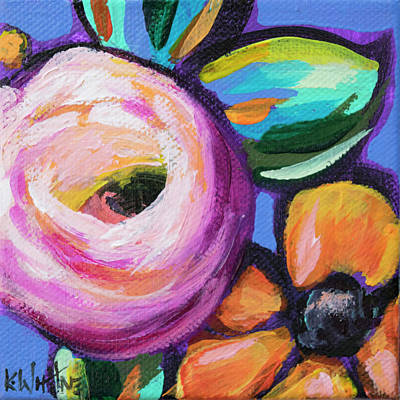 Purple Flowers Painting - Rosey Senorita by Kristin Whitney